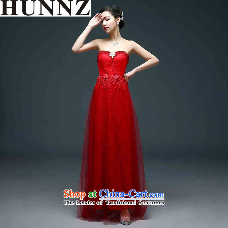 ?   ?Korean-style New 2015 HUNNZ stylish wedding dress bride breast tissue sleeveless long evening dresses red?XL