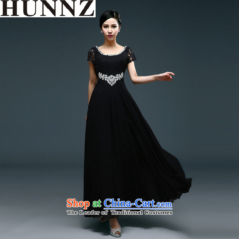 ?   ?Short stylish 2015 HUNNZ spring and summer straps bride wedding dress bows service long evening dresses Black?XL