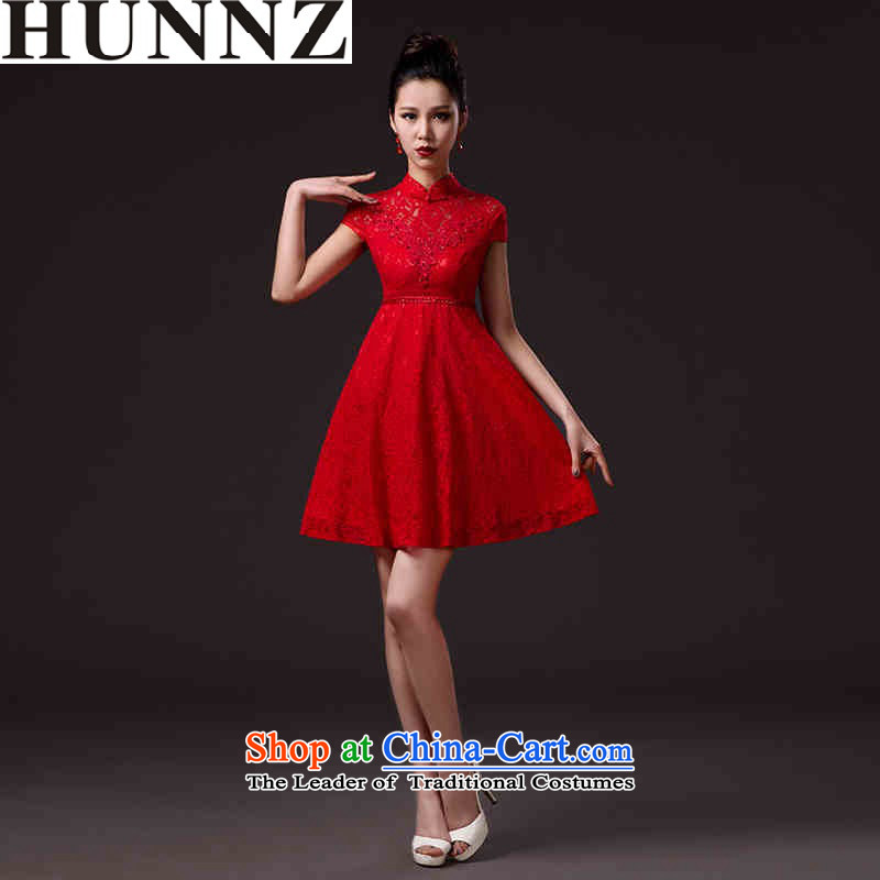 ?   ?New stylish 2015 HUNNZ spring and summer lace bridal dresses solid color short, banquet evening dresses bows services red?L