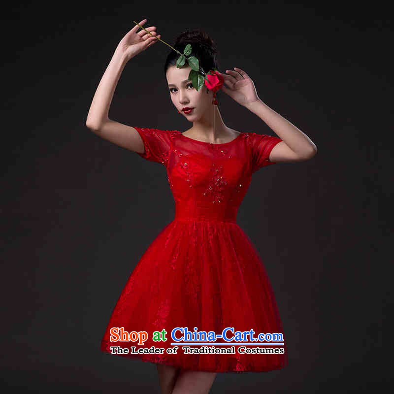 ?   ?Korean fashion 2015 HUNNZ bride classic wedding dress banquet dinner dress the word shoulder red red?XXL