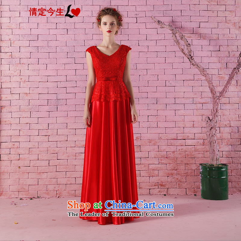 Love of the life of the new 2015 small V-neck a field shoulder lace long thin bride red toasting champagne video services dresses red?S
