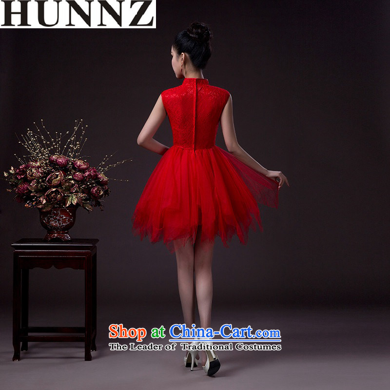 ?  ?Korean fashion 2015 HUNNZ classic bride wedding dress red dress bows service banquet red?XXL