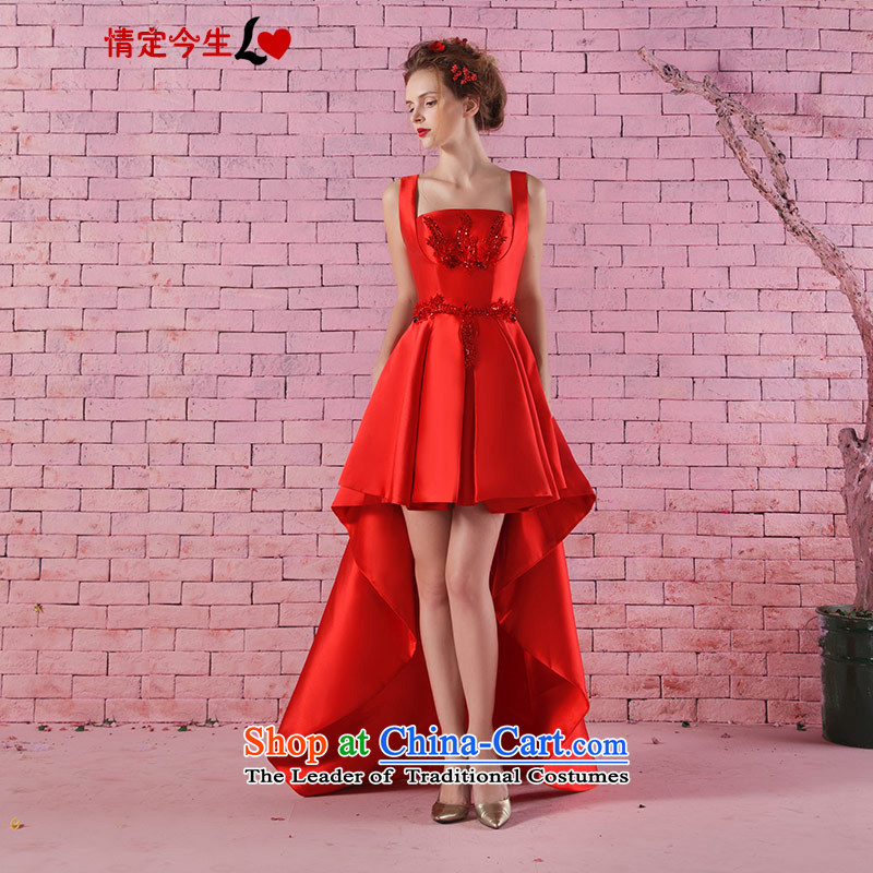 Love of the life of the new 2015 stylish strap lace diamond imports before the after short frockcoat marriages red bows services red?S