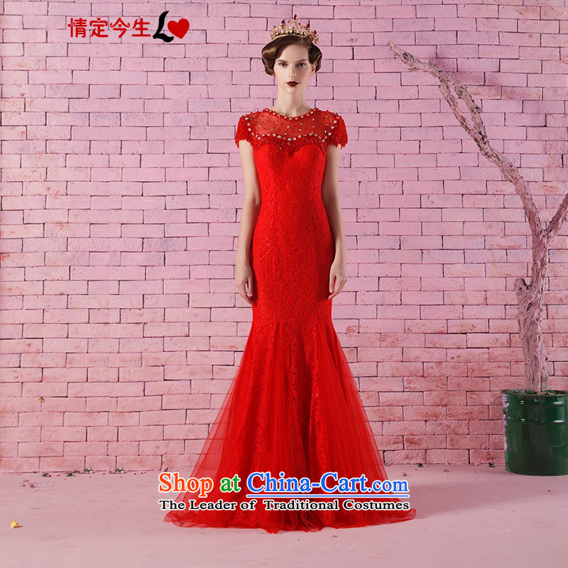 Love of the overcharged new luxury nail Pearl 2015 water to drill one field shoulder round-neck collar crowsfoot lace dress bride short-sleeved red tailor-made services bows designed concept Message Size