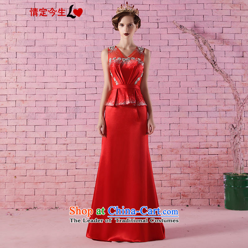 Love of the life of the new 2015 word elegant shoulder V-Neck Diamond Sau San crowsfoot dress red marriages bows services red?L