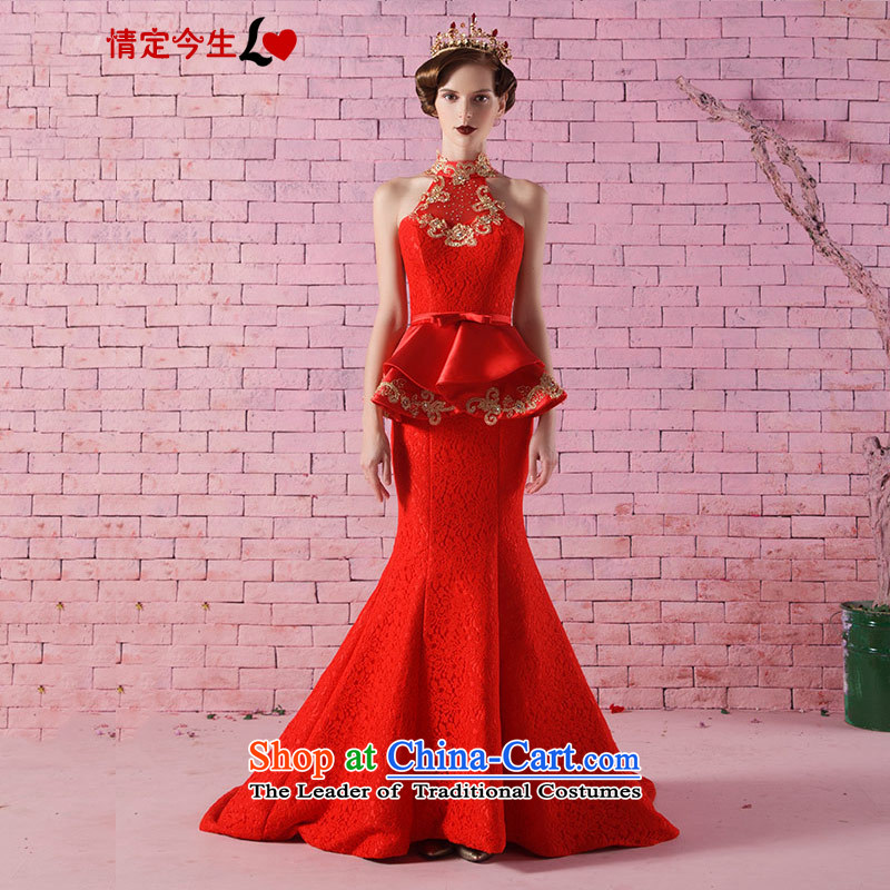 Love of the life of the new 2015 retro-history embroidery crowsfoot tail dress marriages bows service banquet evening dresses made red message size is designed concept