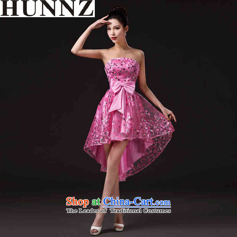 2015 new stylish HUNNZ larger minimalist bride wedding dress bows and short of chest services Pink Pink?L