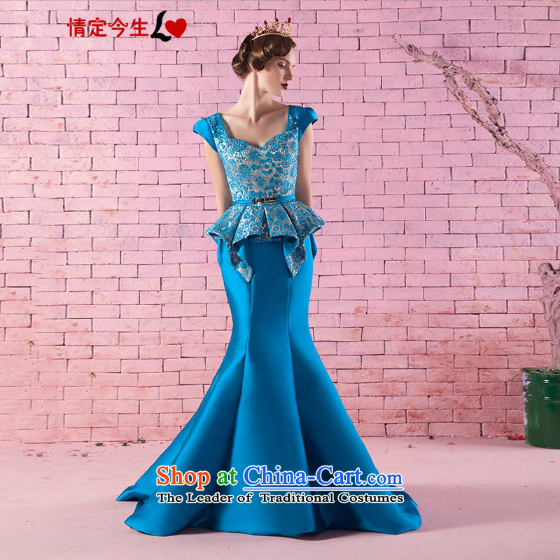 Love of the overcharged new Word 2015 retro shoulder stereo lace Foutune of video thin crowsfoot tail bride bows services banquet dinner dress light blue tailor-made exclusively concept Message Size