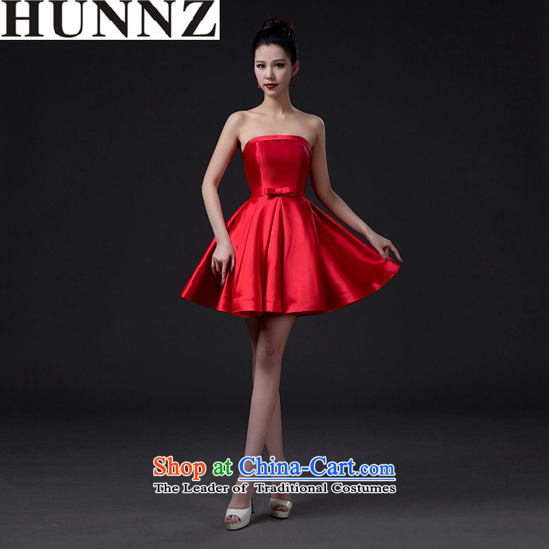 2015 new stylish HUNNZ bride wedding dress bows services banquet evening dresses and short of chest red XL
