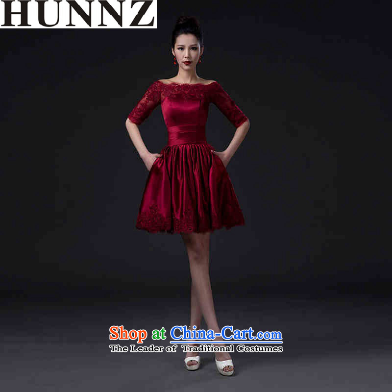 Large stylish 2015 HUNNZ minimalist banquet evening dresses toasting champagne Sau San Service Bridal wedding dress wine red�S