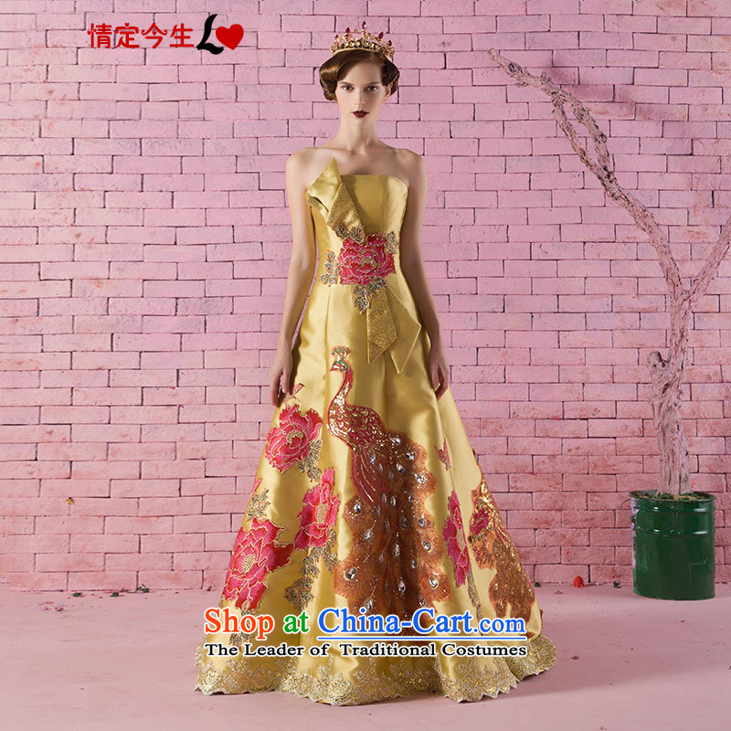 Love of the life of the new 2015 retro upscale Phoenix Peony embroidery anointed chest Golden Ballroom tail dress marriages bows services tailor-made exclusively concept gold Message Size