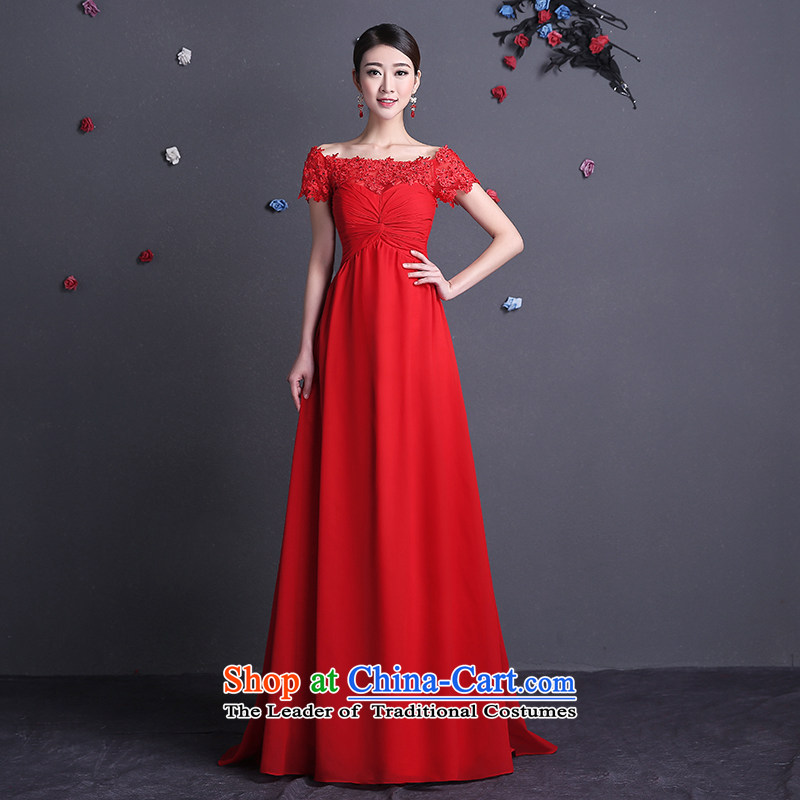 2015 new stylish HUNNZ bride wedding dress red dress length_ bows services red long?S