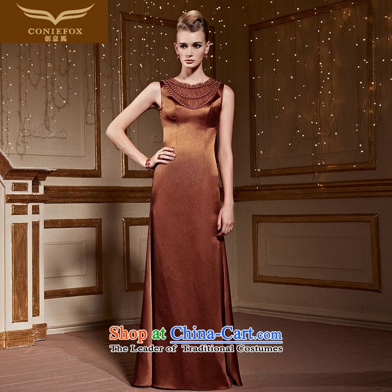 Creative Fox sleeveless shoulders banquet evening dresses long dresses Sau San under the auspices of the girl will marry evening drink served long skirt 31,000 Brown�M