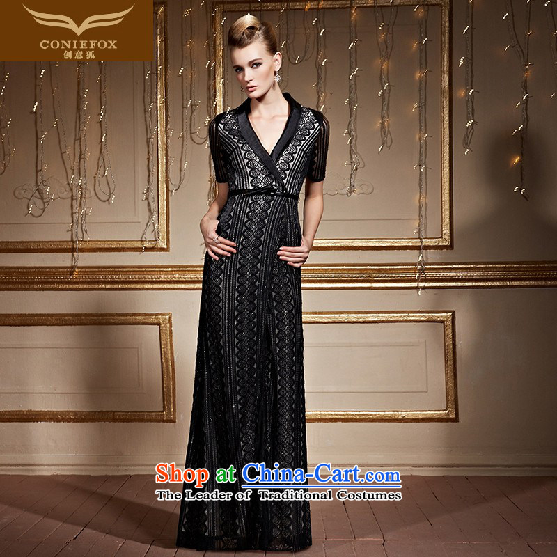 Creative stylish black fox V-Neck banquet evening dresses Sau San Long Short-sleeved gown female evening presided over a drink to lace dress long skirt 30999 Black?M pre-sale