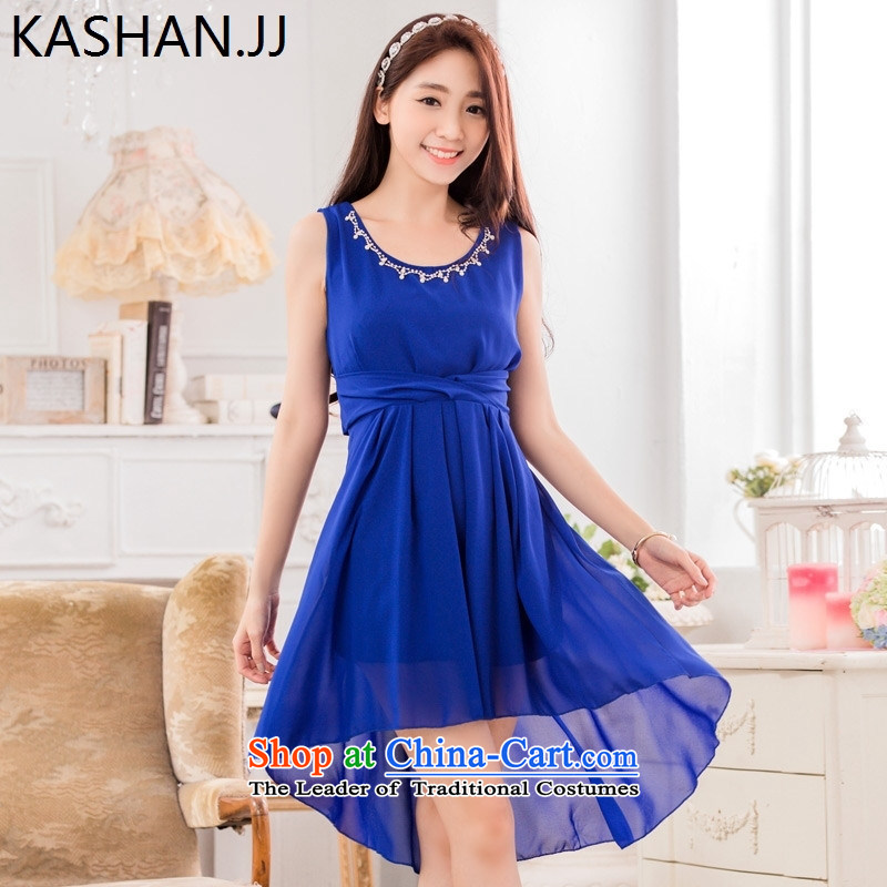 The reason for the large number card Shan Women's Summer new bead chain evening dresses and sisters skirt chiffon xl dresses dress code are blue