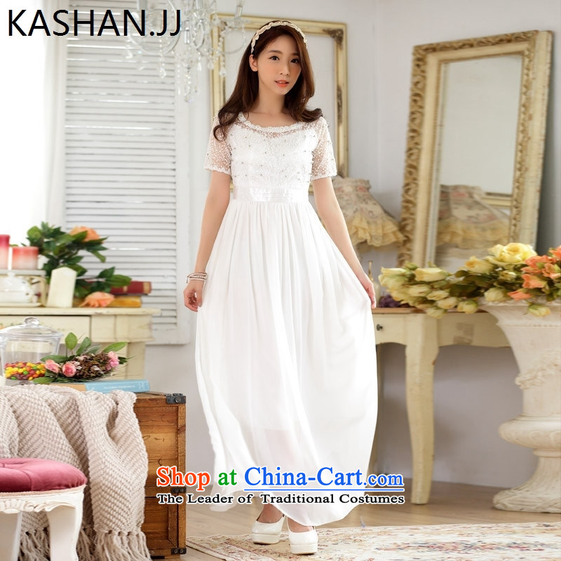 The reason for the large number card Shan Women's irrepressible lace nail pearl chiffon long evening dresses Evening Compere intensify dresses White聽M