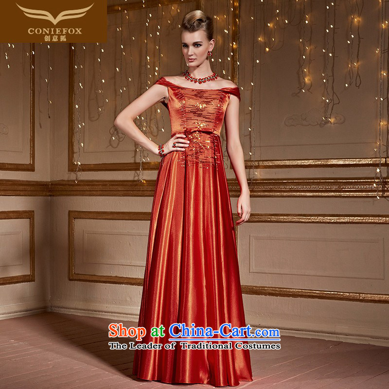 Creative word fox shoulder evening dresses marriage bows services back door dresses and stylish bride nail pearl banquet dress Female dress Sau San autumn 30993 red-orange�M