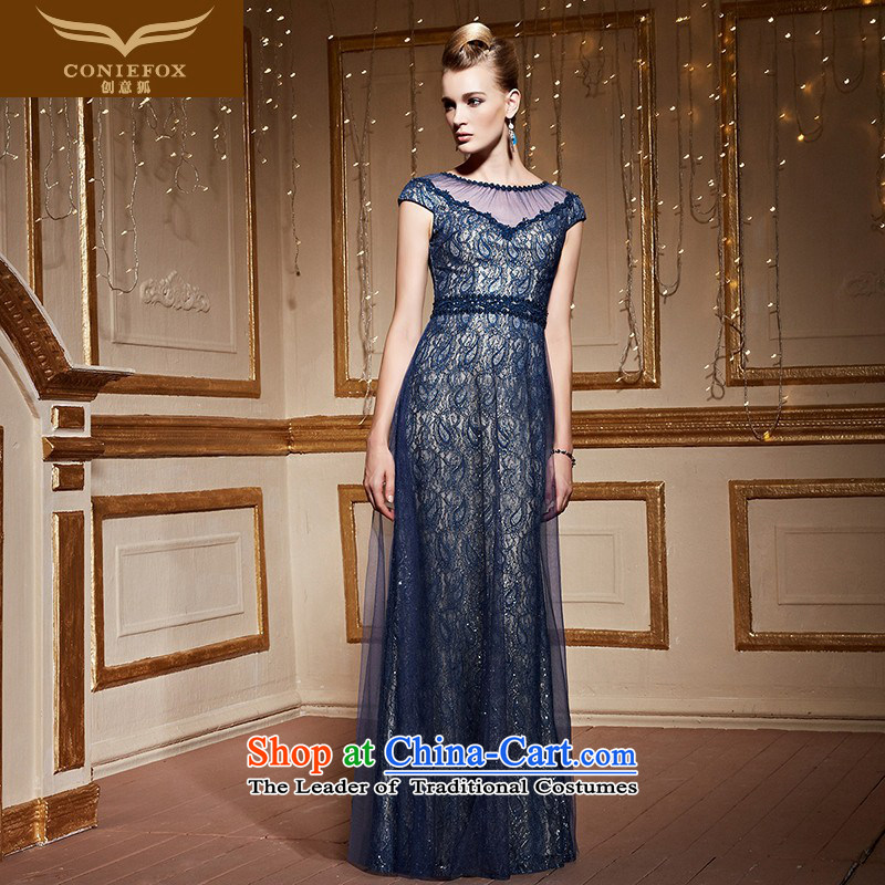 Creative Fox stylish lace package shoulder dress blue auspices banquet dress girl will long drink service     evening dress 30992 dark blue?XXL pre-sale