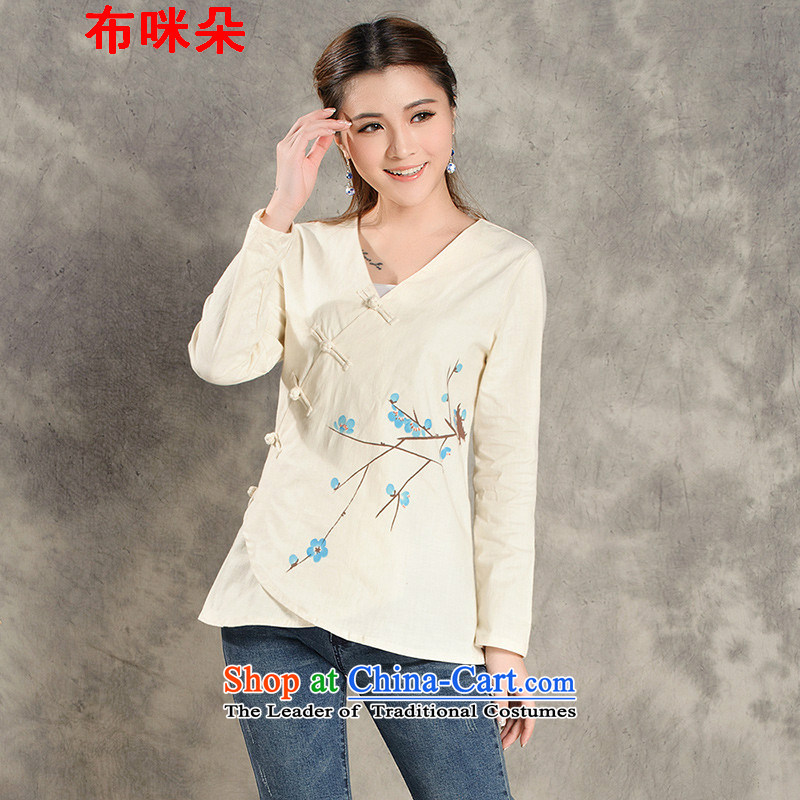The metered parking spaces of Chinese New Year 2015 Flower improved long-sleeved Tang dynasty women fall ethnic Han-tea service 8022_ qipao White?XL