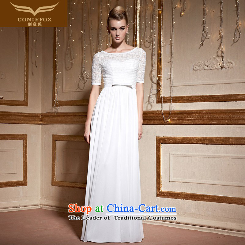 Creative Fox lace white banquet evening dress bride wedding dresses services under the auspices of the annual sessions of marriage toasting champagne evening dress show long skirt autumn 30991 White聽XL