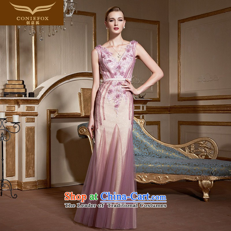 Creative Fox pink shoulders bride wedding dress bows to stylish V-Neck lace banquet dress long gown under the auspices of Sau San will 30990 pink�XL