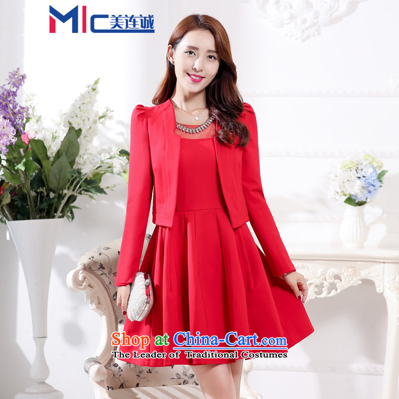 Mei Lin Shing spring and autumn 2015 New Sau San Red Dress Kit girl brides dress bows services back to door two kits long-sleeved red�M