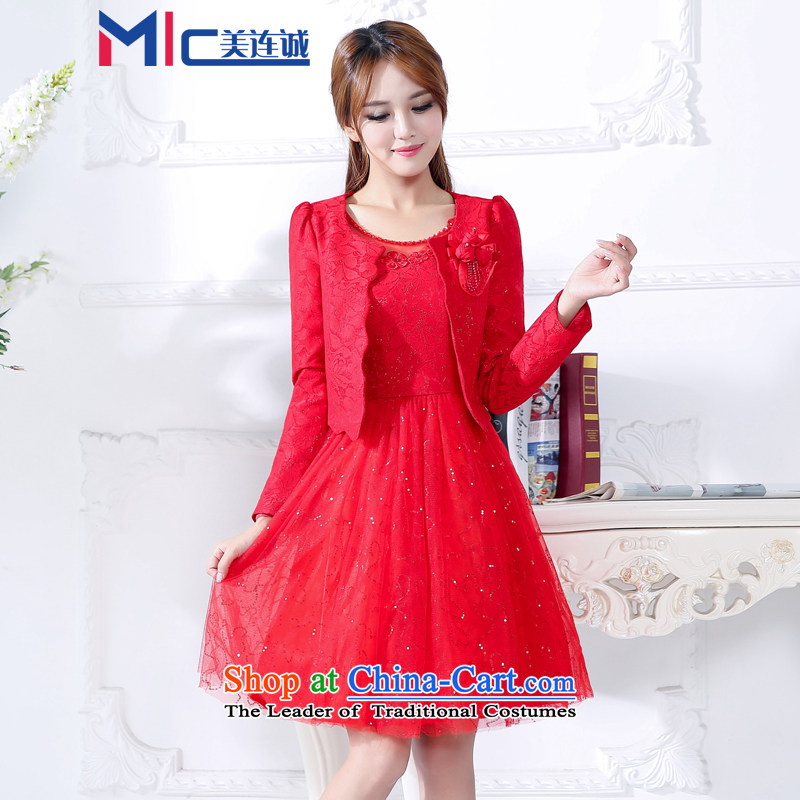 Mei Lin Shing 2015 autumn and winter, red bride wedding dress bows service door onto the stylish two kits of betrothal small female red XXXL dress