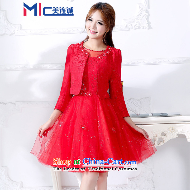 Mei Lin Shing 2015 autumn and winter new banquet Female dress bride wedding dress bows services back to door onto Red Dress Female Red?M