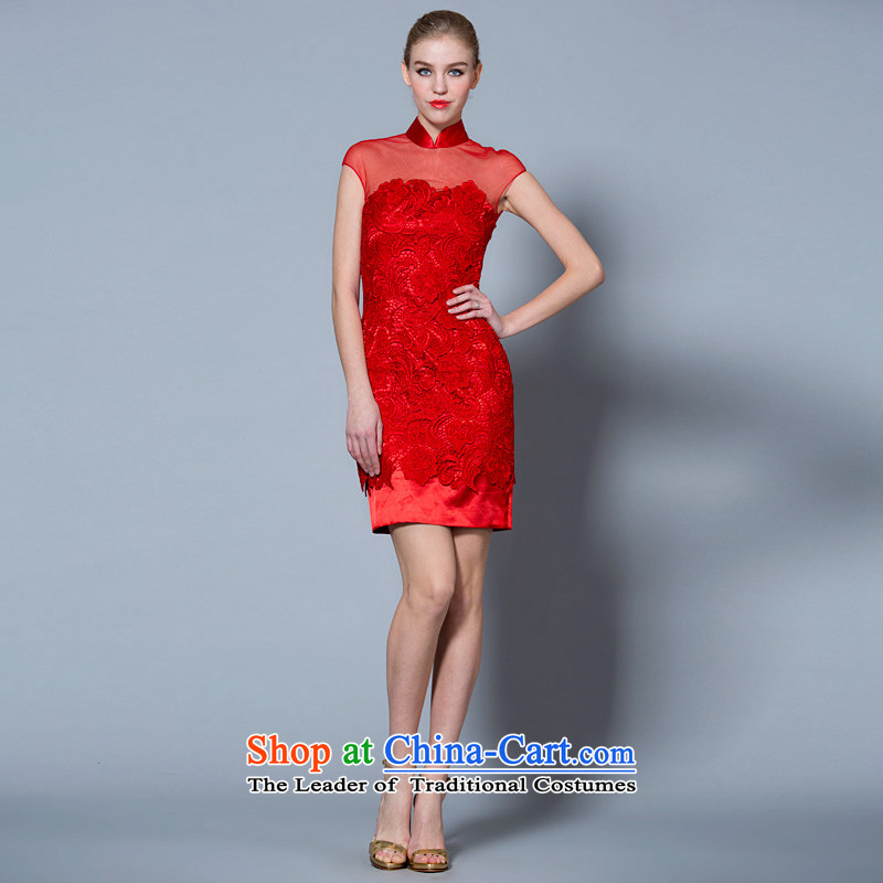 A lifetime of 2015 New bows service of Chinese collar red lace short-sleeved qipao gown�40121017 marriage small�red�160/84A 30 days pre-sale