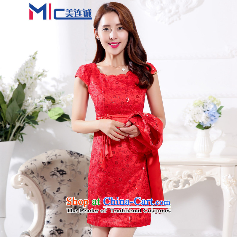 Mei Lin Shing 2015 new cheongsam dress marriage Chinese Dress spring and summer red lace retro improved bride bows services RED?M