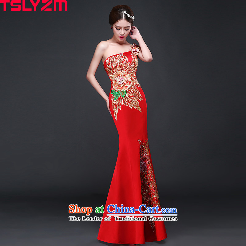 Shoulder bows services tslyzm qipao bride wedding dress crowsfoot long satin moderator female 2015 new autumn and winter RED�M