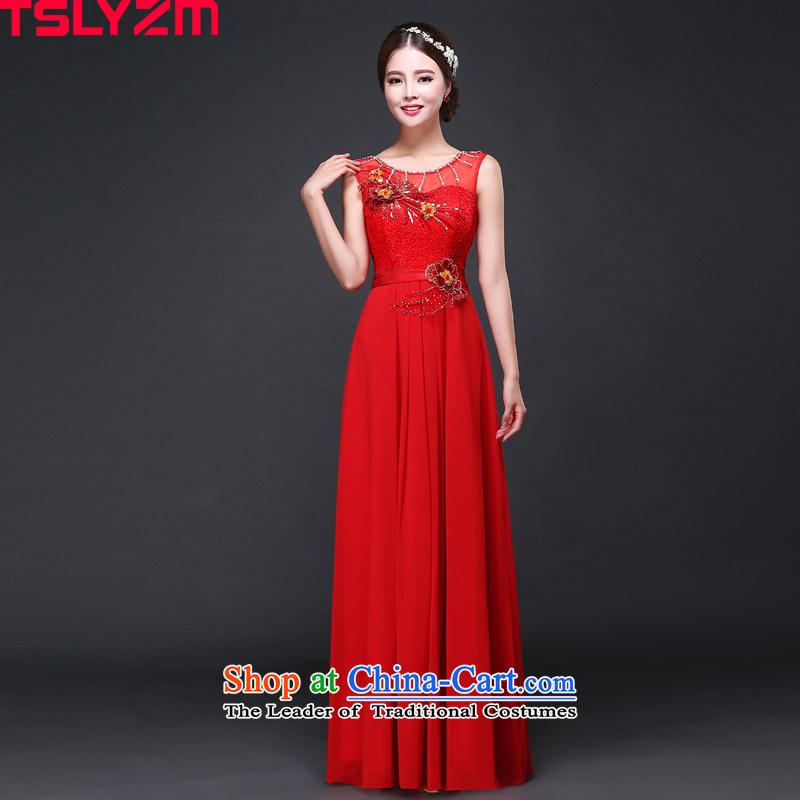 Tslyzm wedding dress long bride bows services fall/winter 2015 new chiffon lace water drilling evening dress skirt RED?M