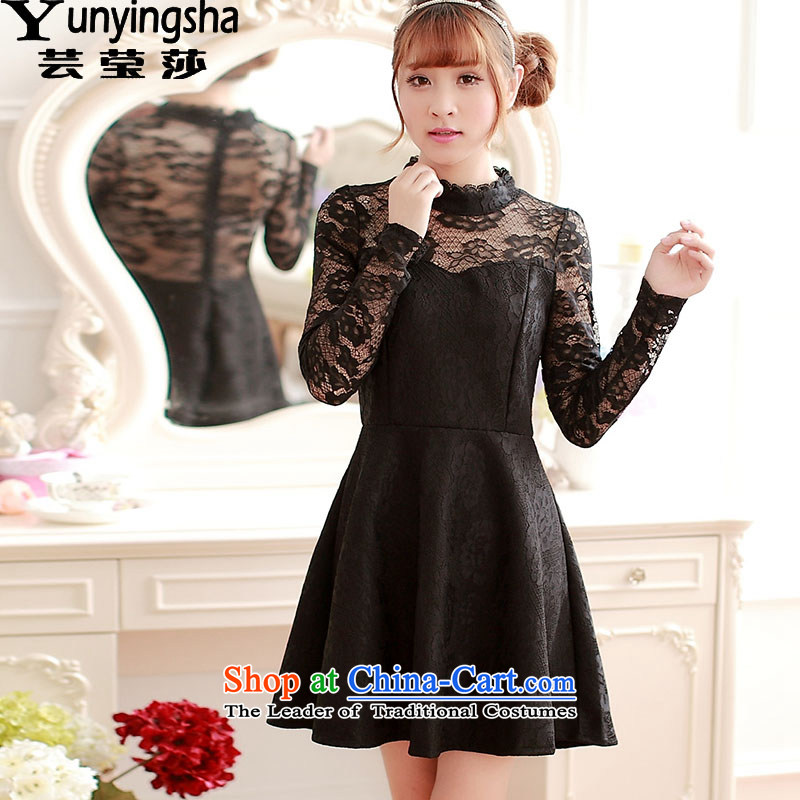 Yun-ying Windsor autumn and winter bridesmaid dress everyday dress autumn 2015 installed new sweet cute girl lace long-sleeved gown skirts short skirts dresses L9541 black?M