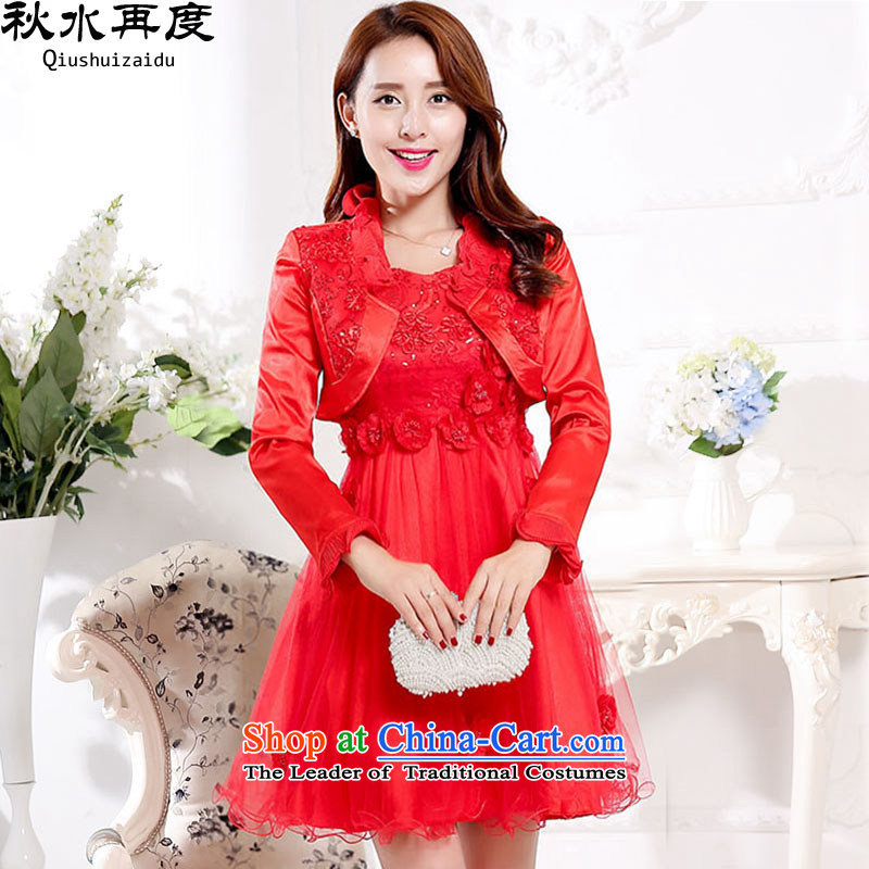 The new 2015 once again the chaplain married women dress 2 piece dress with red?XXXL HSZM1572CX