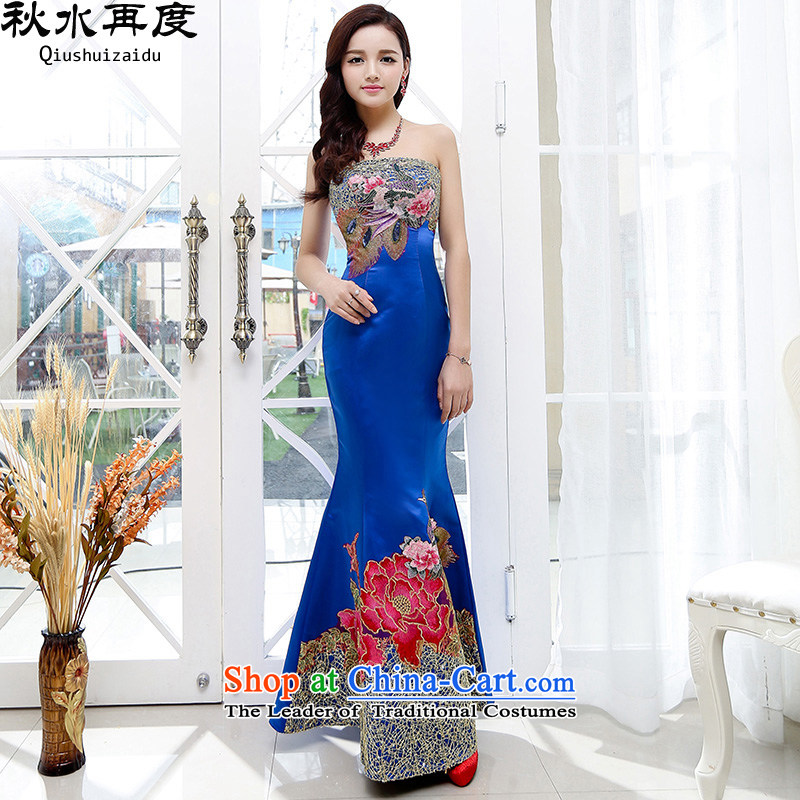 The new 2015 once again the chaplain embroidery spend long skirt anointed chest crowsfoot skirt bride dress HSZM1550 Blue?M