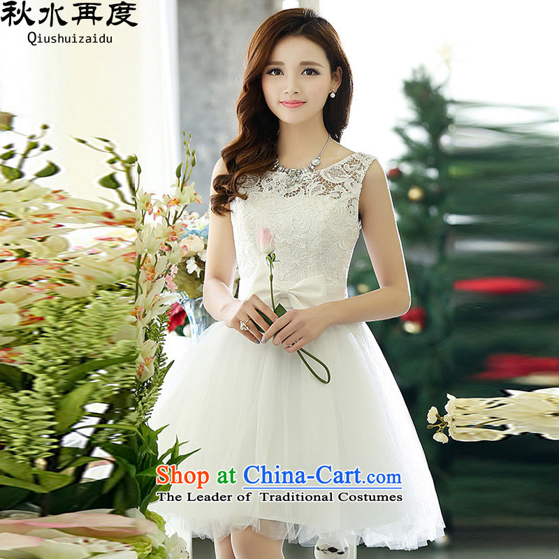Water-soluble 2015 again swordmakers lace Bow Tie Princess skirt bridesmaid dress uniform HSZM1521 bows white?S