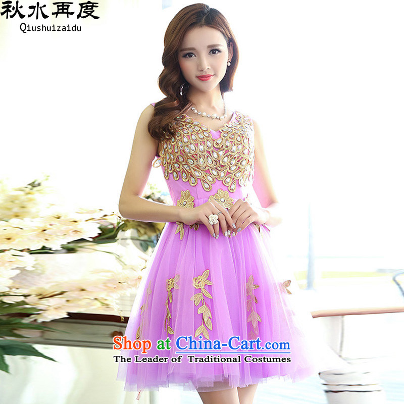 2015 Flower embroidery chaplain again diamond waist bon bon bridesmaid bridal dresses skirt HSZM1517 PURPLE�S
