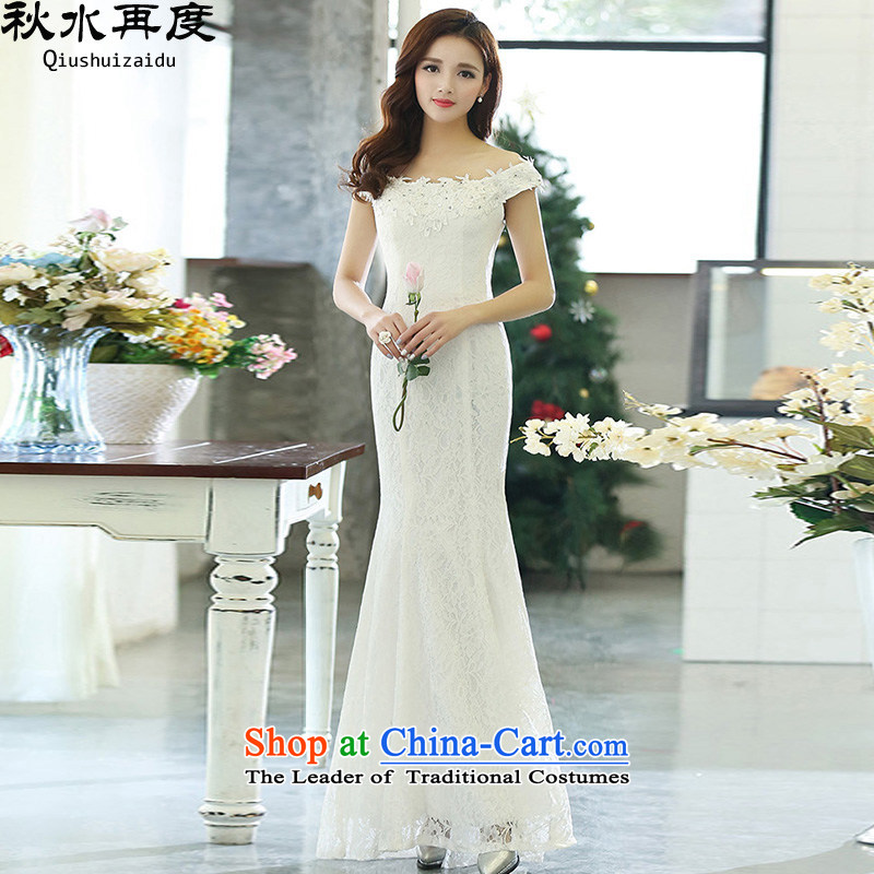 The new 2015 once again the chaplain word for bare shoulders crowsfoot bride dress long skirt HSZM1515 White?XL