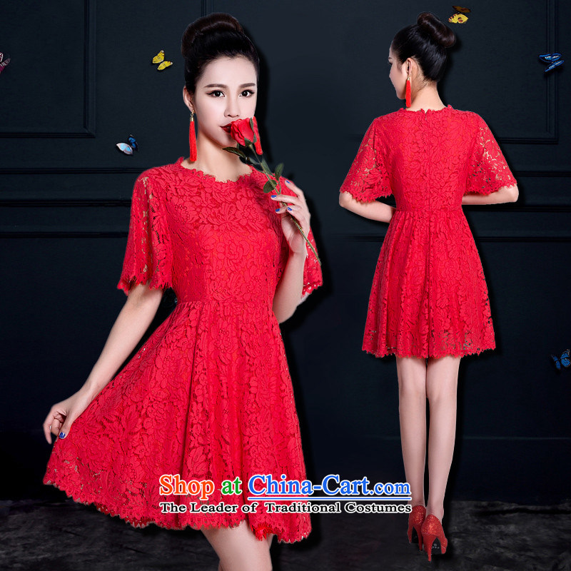 �     �The bride dress 2015 new HUNNZ stylish Solid Color Sau San simplicity services dress bows red�L