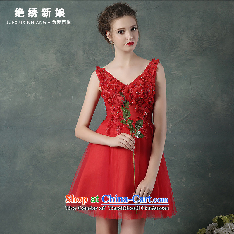 Evening Dress Short of autumn 2015 New 2 shoulder bridesmaid service bridal dresses betrothal large banquet small red dress�XL