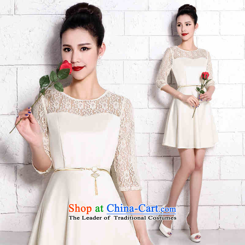Toasting champagne served brides HUNNZ 2015 wedding dress minimalist large short of Sau San banquet dinner dress champagne color?XXL
