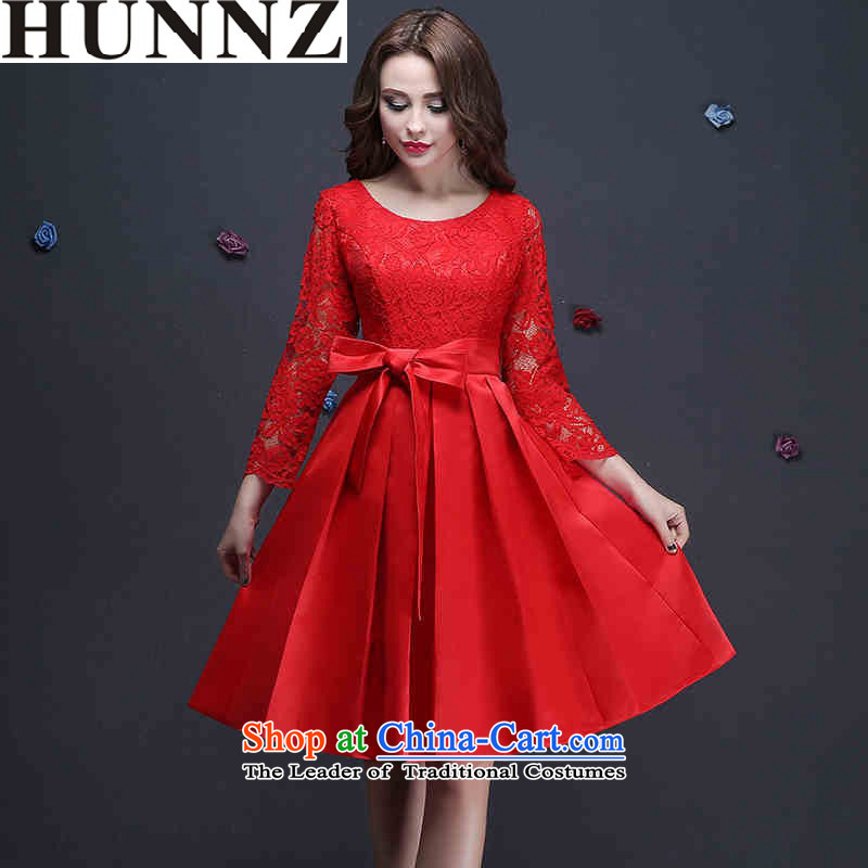 2015 Fashion lace HUNNZ 9 cuff bride dress bon bon skirt red Korean bows services red?XL