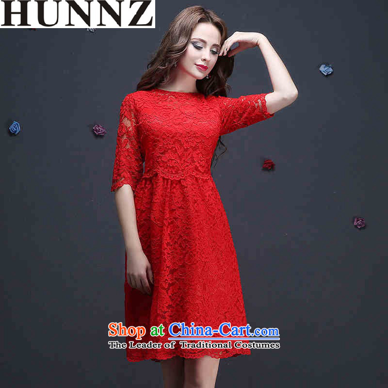 ?    ?The new Korean-style HUNNZ 2015 Spring/Summer bride wedding dress the word, banquet dress shoulder red?XL