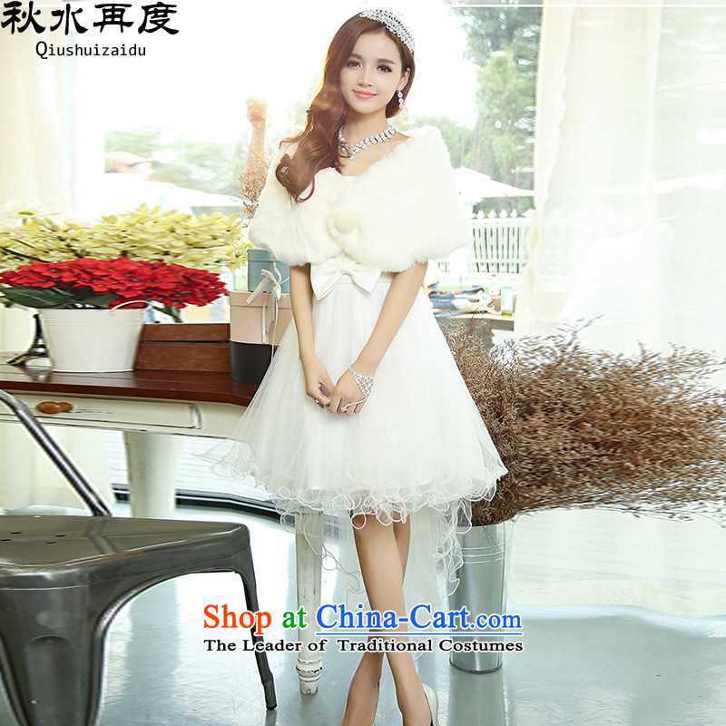 Stylish lace anointed chest Sau San irregular bridal dresses�HSZM1520�white�L