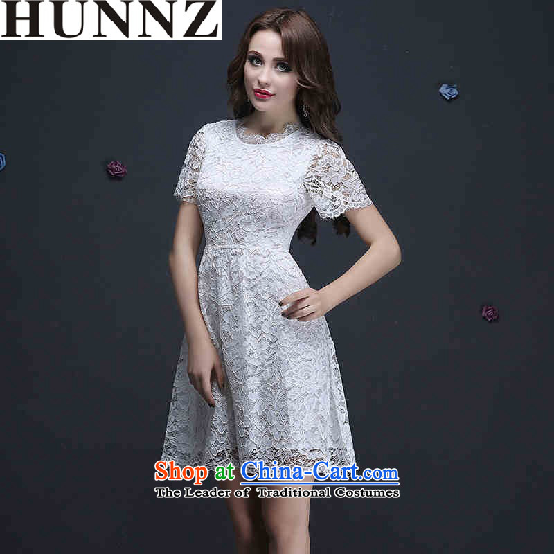 Toasting champagne served brides HUNNZ 2015 wedding dress lace short, white dress bridesmaid Services White聽XL