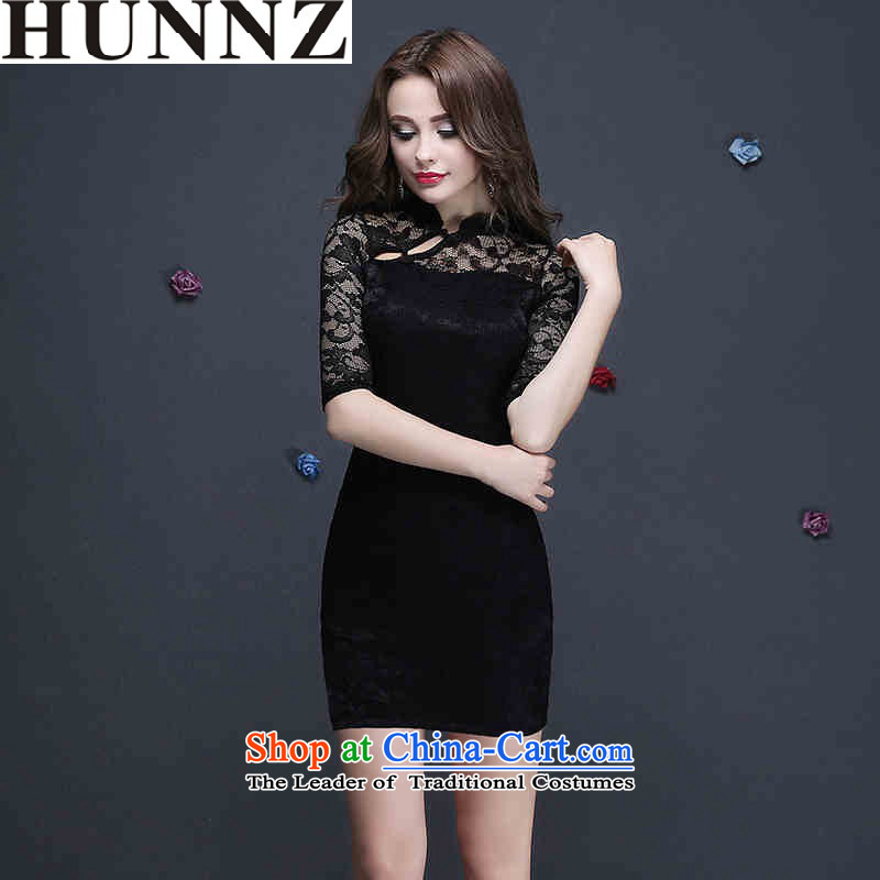 ?   ?Korean-style New 2015 HUNNZ sleek minimalist marriages at Banquet evening dresses bows to the black?M