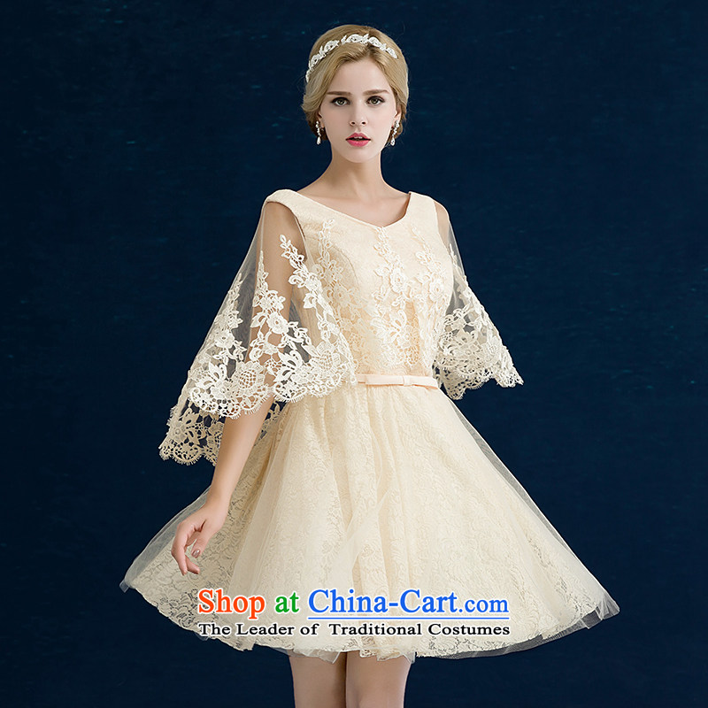 Jiang bride bows service seal 2015 winter new marriages bridesmaid dress red short, shoulders champagne color V-Neck lace banquet dual color evening dresses female champagne color B tailored