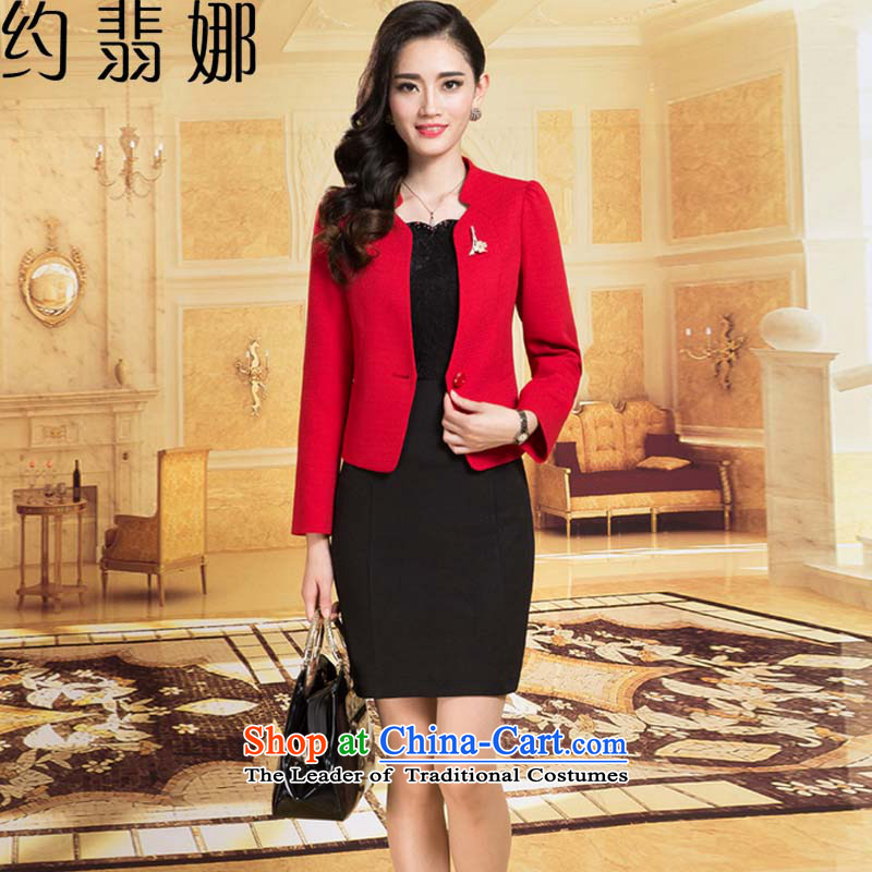 The�2015 autumn Jadeite Jade about replacing the new Wedding sets wedding dresses OL temperament Sau San long-sleeved dresses two kits�668�RED�M