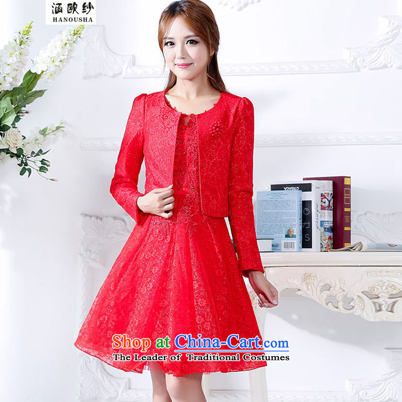 The OSCE yarn bows services covered by the 2015 New Year with short of marriages red lace Top Loin of dresses and stylish evening dresses RED?M