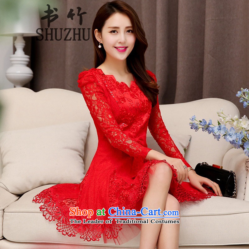 2015 New Service Bridal red bows, lace skirt Top Loin of long-sleeved wedding dress red  �L